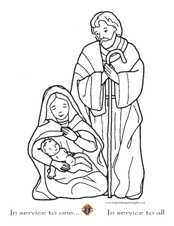 jesus joseph mary coloring pages - photo#9