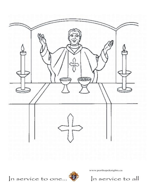 mass coloring pages - catholic priest free colouring pages